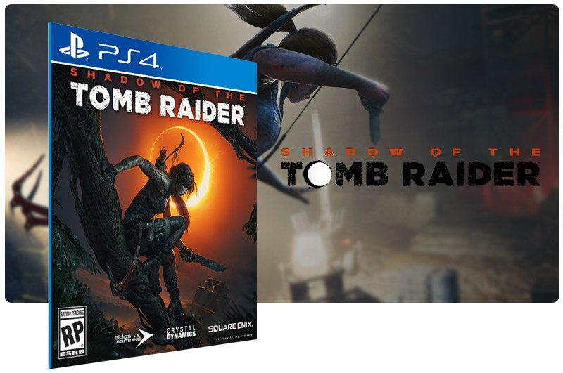 Banner do game Shadow of the Tomb Raider em mídia digital para PS4