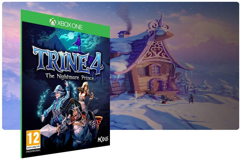 Banner do game Trine 4: The Nightmare Prince em mídia digital para Xbox One
