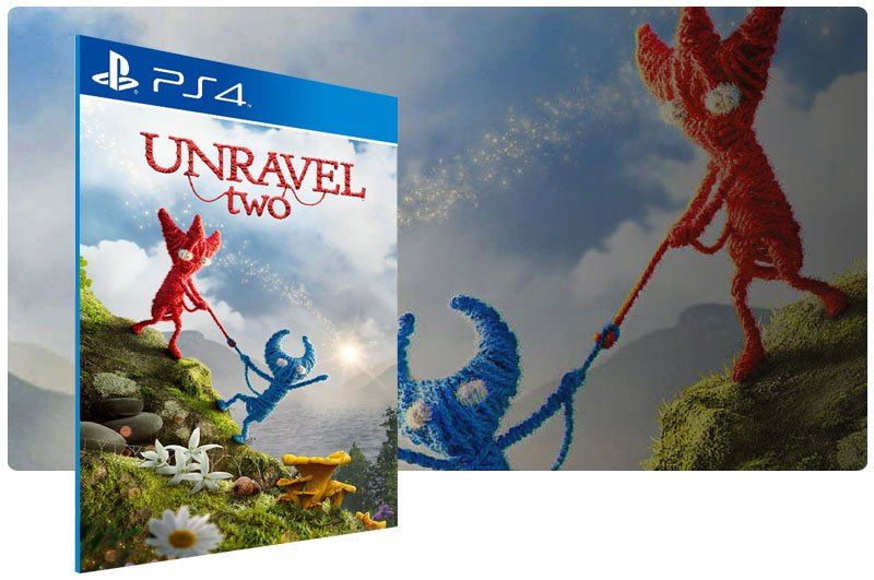 Banner do game Unravel Two em mídia digital para PS4