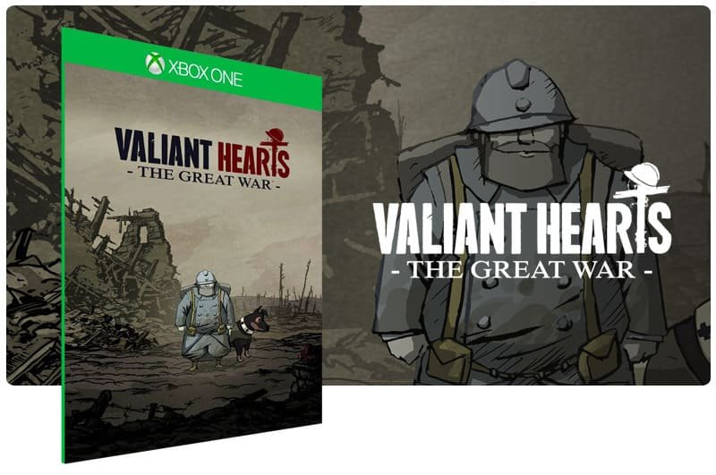 Banner do game Valiant Hearts: The Great War em mídia digital para Xbox One