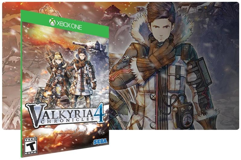 Banner do game Valkyria Chronicles 4 em mídia digital para Xbox One