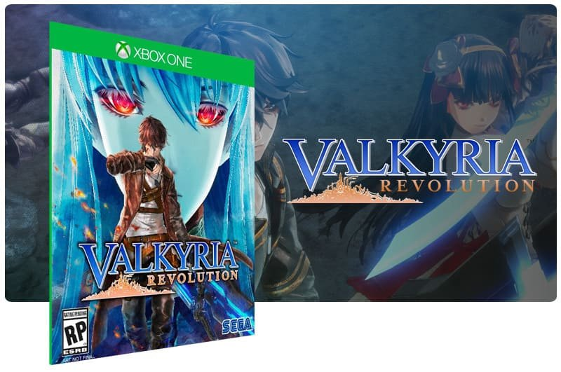 Banner do game Valkyria Revolution em mídia digital para Xbox One