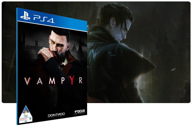 Banner do game Vampyr em mídia digital para PS4