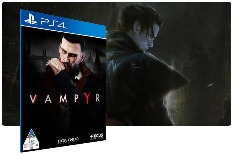 Banner do game Vampyr em mídia digital para PS4
