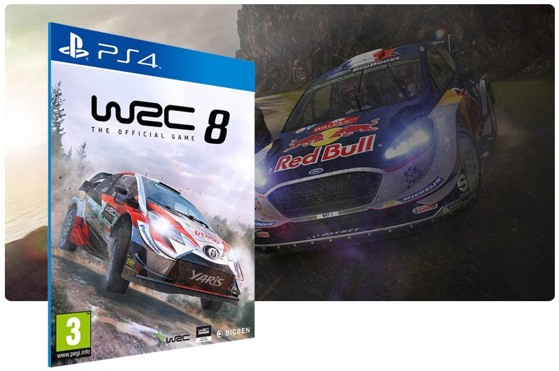 Banner do game WRC 8 FIA World Rally Championship para PS4