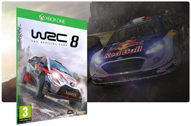 Banner do game WRC 8 FIA World Rally Championship em mídia digital para Xbox One