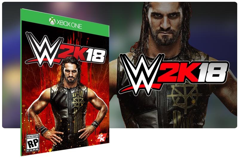Banner do game WWE 2K18 em mídia digital para Xbox One