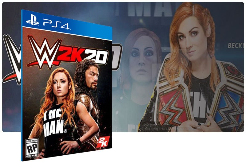 Banner do game WWE 2K20 em mídia digital para PS4