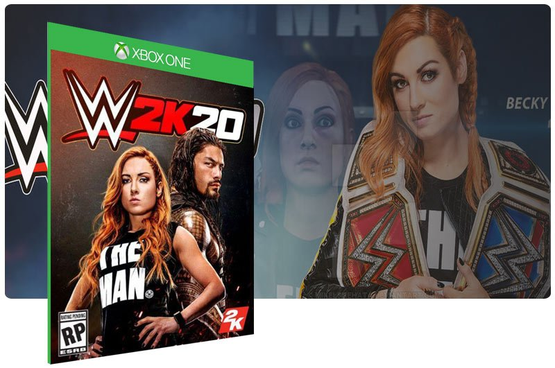 Banner do game WWE 2K20 em mídia digital para Xbox One
