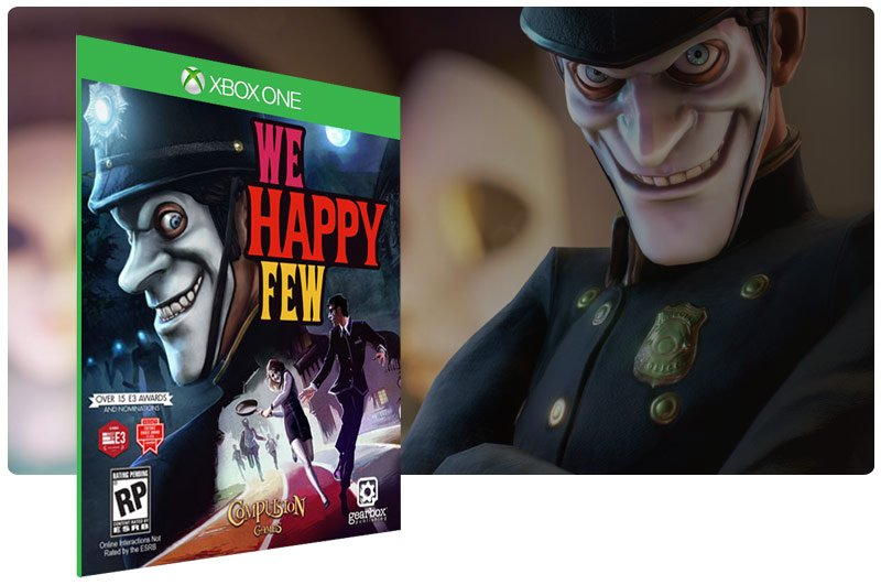 Banner do game We Happy Few em mídia digital para Xbox One