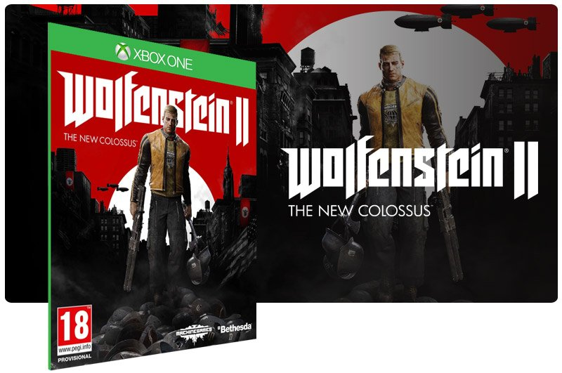Banner do game Wolfenstein 2: The New Colossus em mídia digital para Xbox One