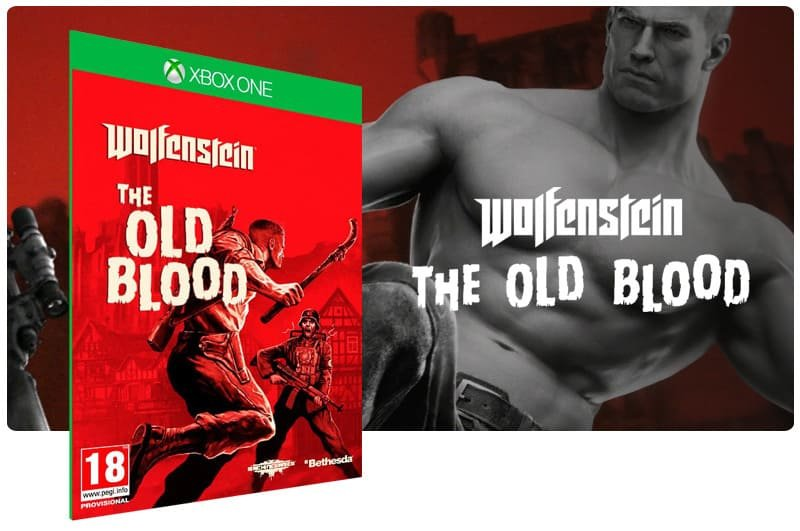 Banner do game Wolfenstein: The Old Blood em mídia digital para Xbox One