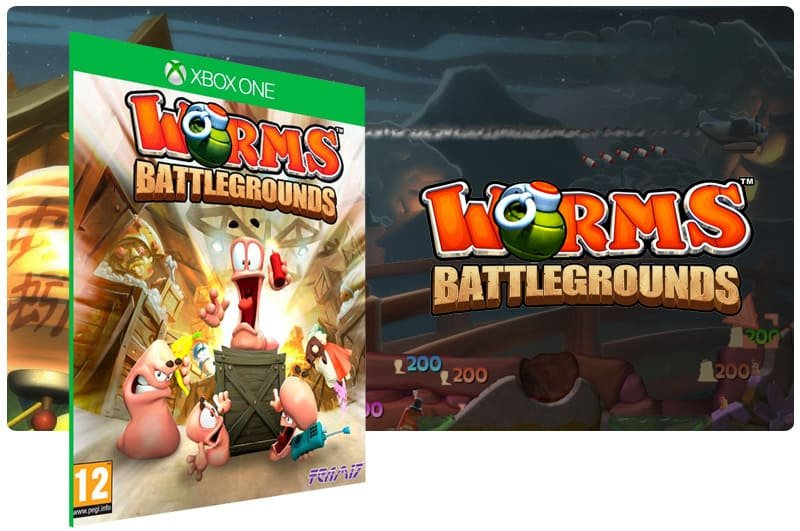 Banner do game Worms Battlegrounds em mídia digital para Xbox One