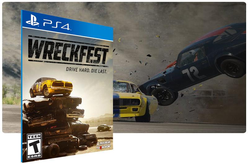 Banner do game Wreckfest em mídia digital para PS4