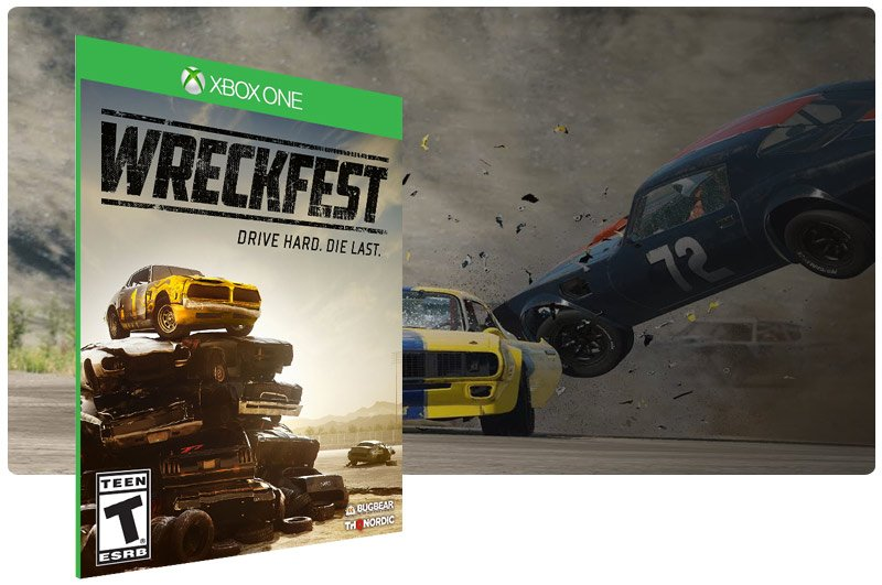 Banner do game Wreckfest em mídia digital para Xbox One
