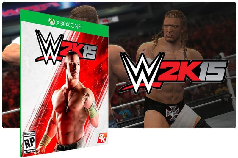 Banner do game WWE 2K15 em mídia digital para Xbox One