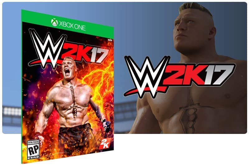 Banner do game WWE 2K17 em mídia digital para Xbox One