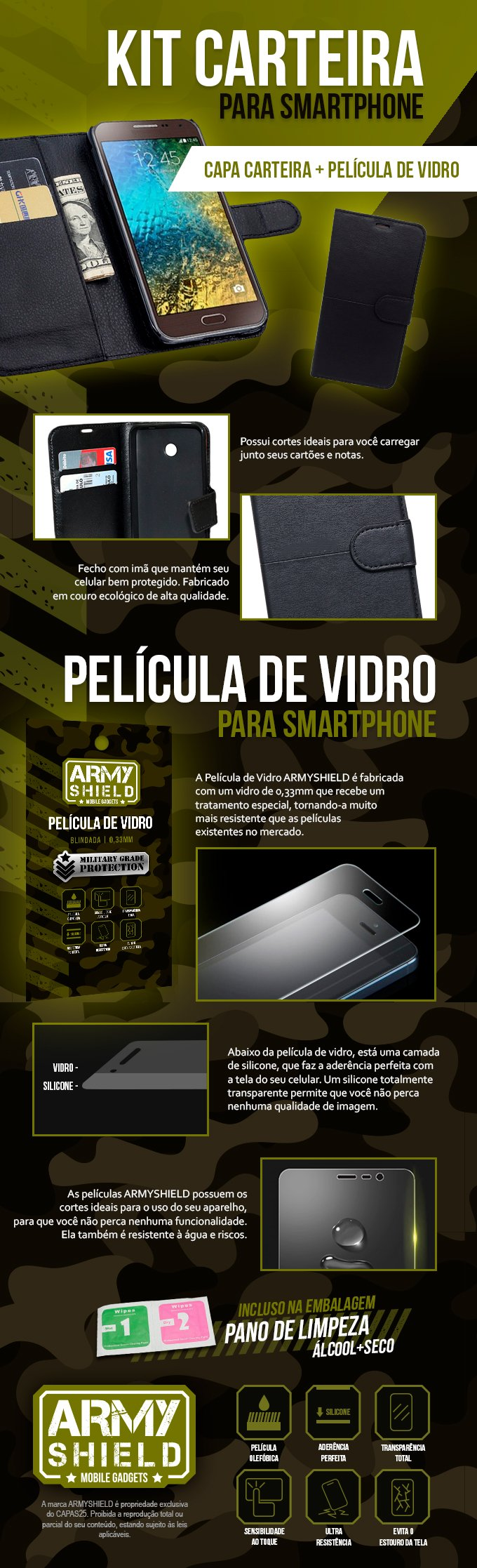Kit Carteira Armyshield.