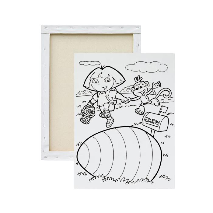 tela-para-pintura-infantil-dora-aventureira-procurando-ovos-de-pascoa