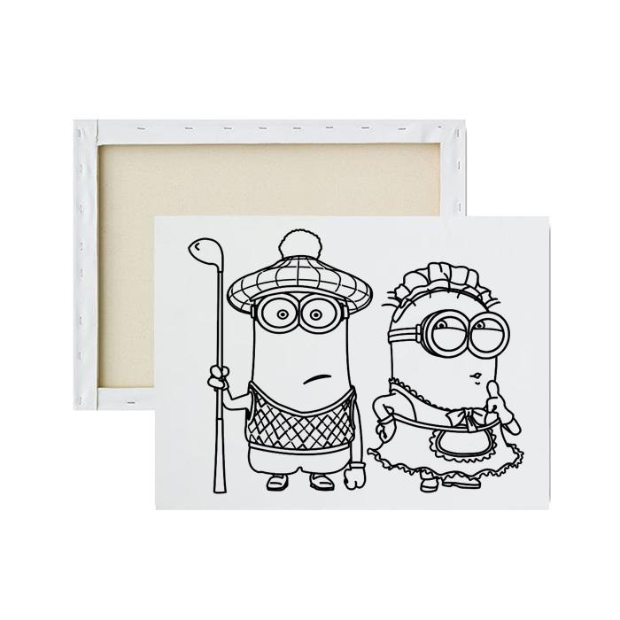 Tela-para-pintura-infantil-minions-fantasiados