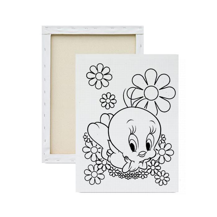 Tela-para-pintura-infantil-piu-piu-florido