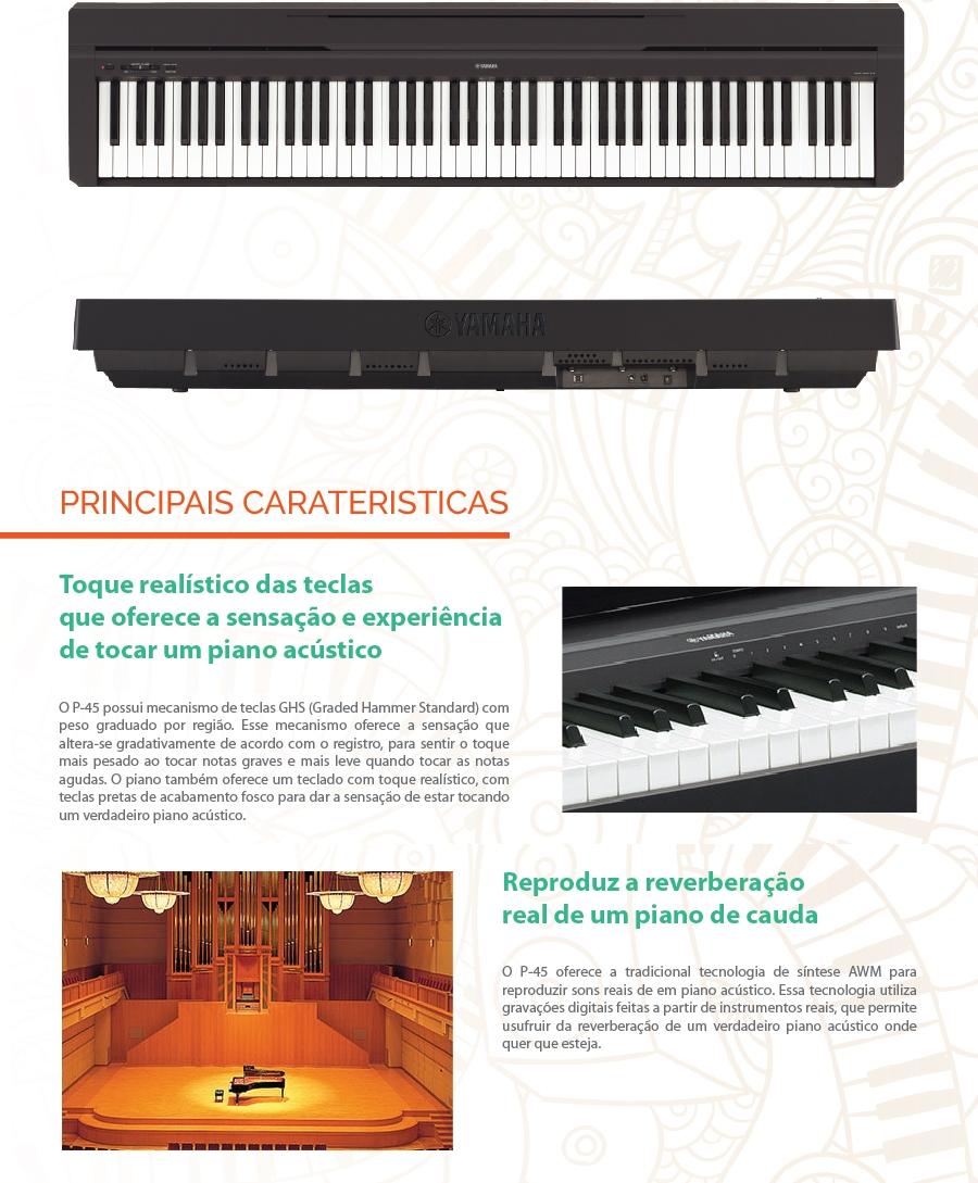piano digital yamaha portatil p 45b shopmusic loja. Black Bedroom Furniture Sets. Home Design Ideas