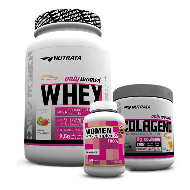 91cbc41d8 Kit Only Women (Whey Feminino + Colágeno + Multivitaminico) Nutrata ...