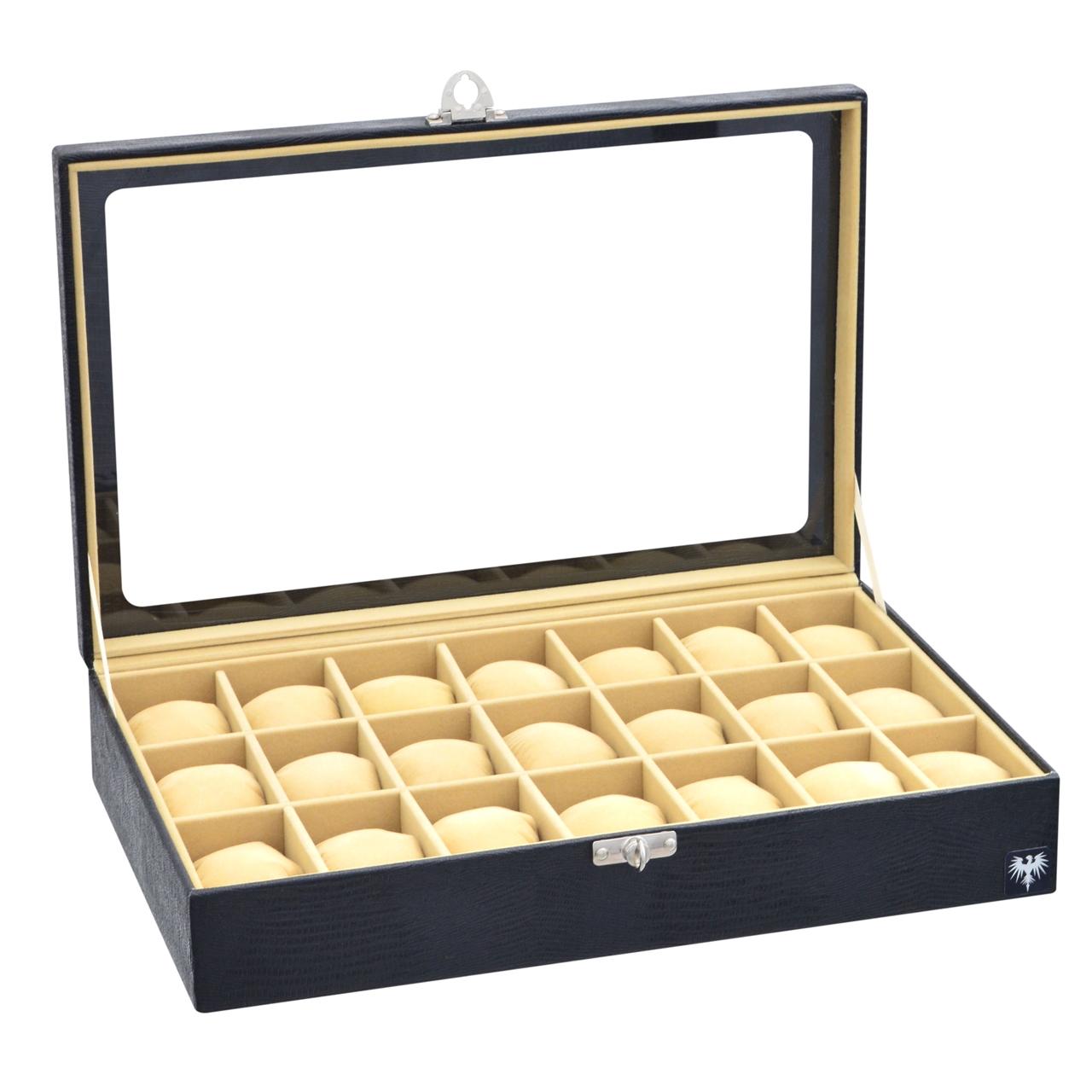 estojo-couro-ecologico-21-relogios-preto-bege-porta-caixa-imagem-3.jpg