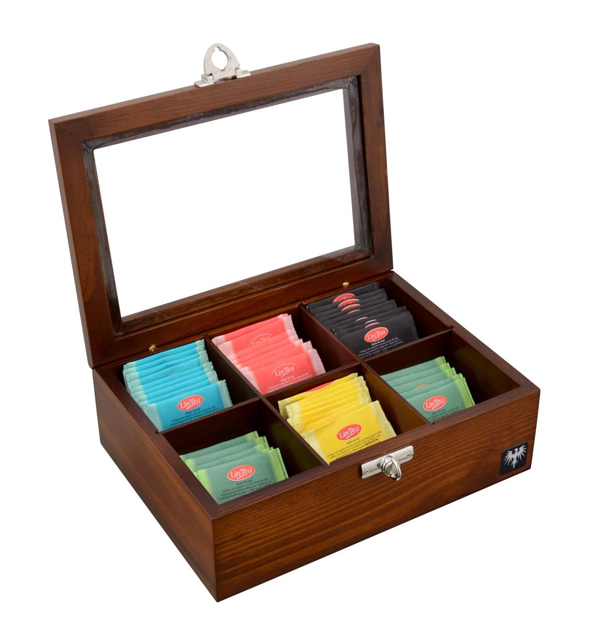 porta-cha-6-casulos-madeira-macica-tabaco-caixa-de-cha-imagem-1.JPG