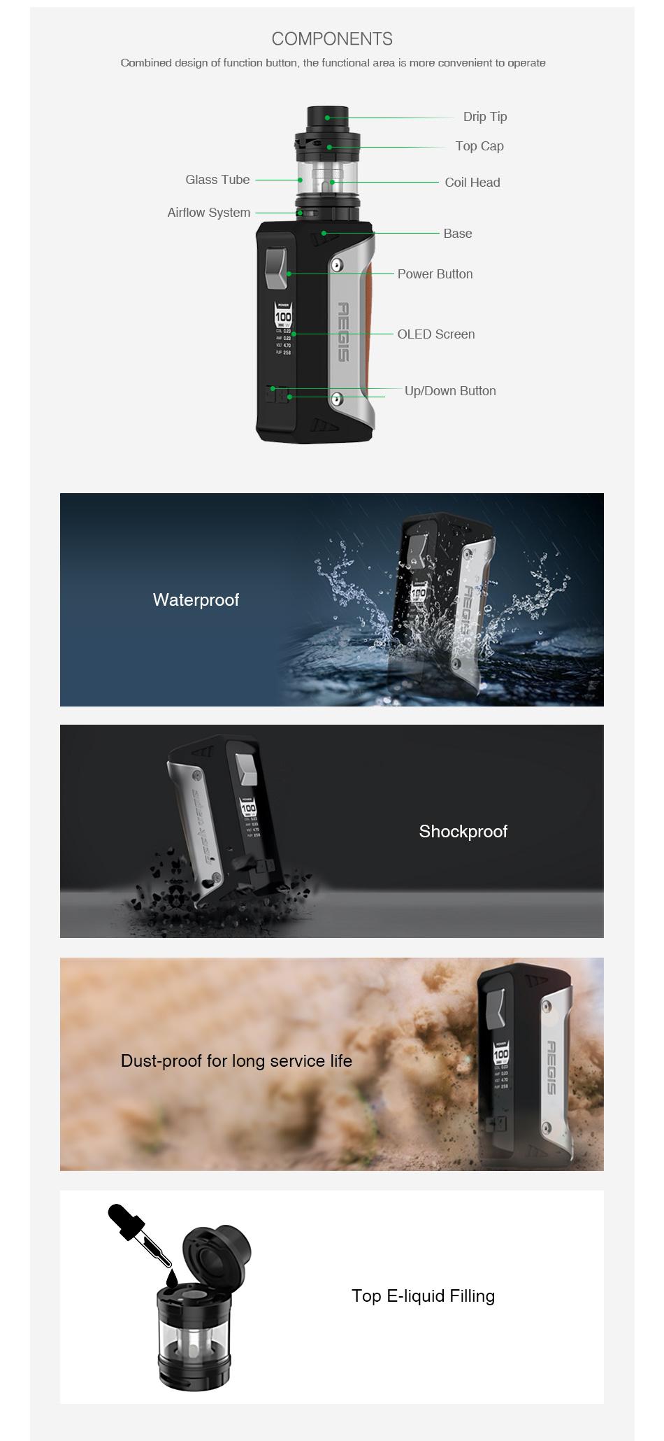 Kit Aegis 4300mAh |Atomizador Blindado (Shield) | GeekVape