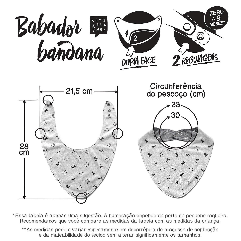 Tabela de Medidas Babadores-Bandana Let's Rock Baby