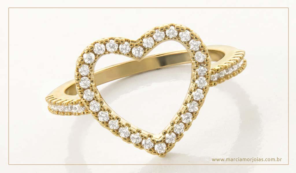 anel de coração banhado a ouro