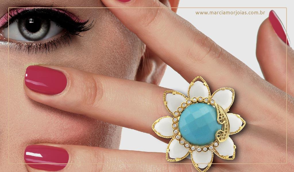 anel de ouro feminino com pedra