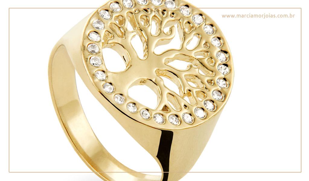 anel de ouro árvore da vida