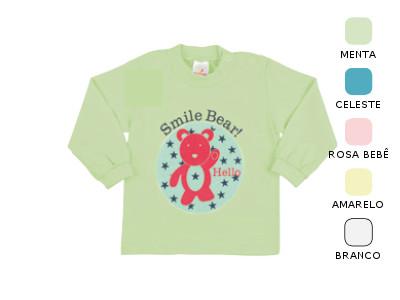 Camiseta Manga Longa de Bebê Unissex com Estampa e Botão