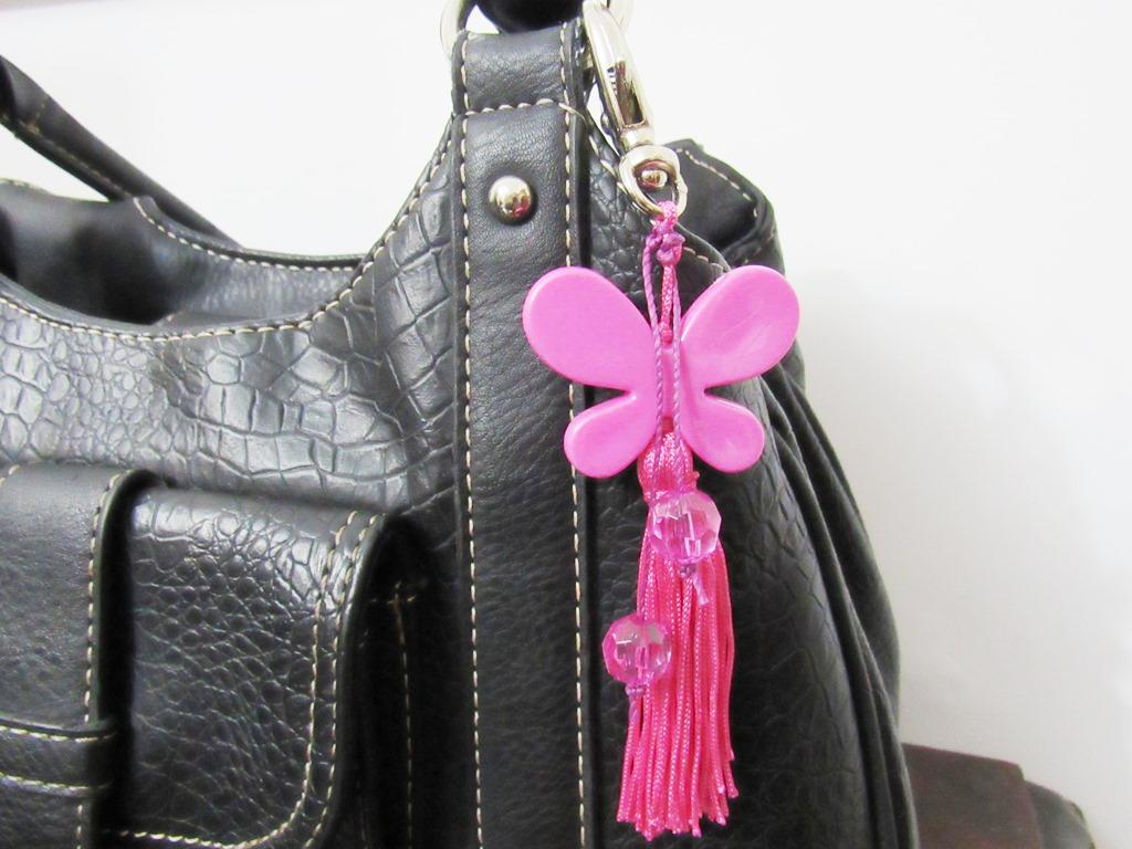 chaveiro rosa borboleta