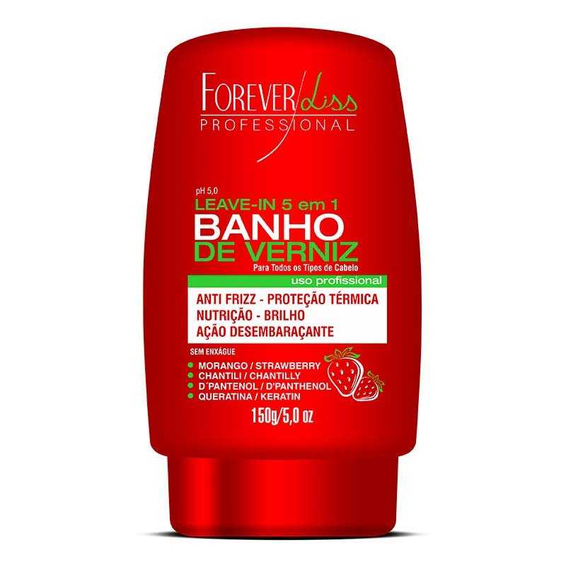 Banho de Verniz Leave-in 5 em 1 Morango Forever Liss - 150g