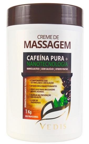 Creme de Massagem Corporal Cafeína Pura e Nanotecnologia Vedis - 1Kg