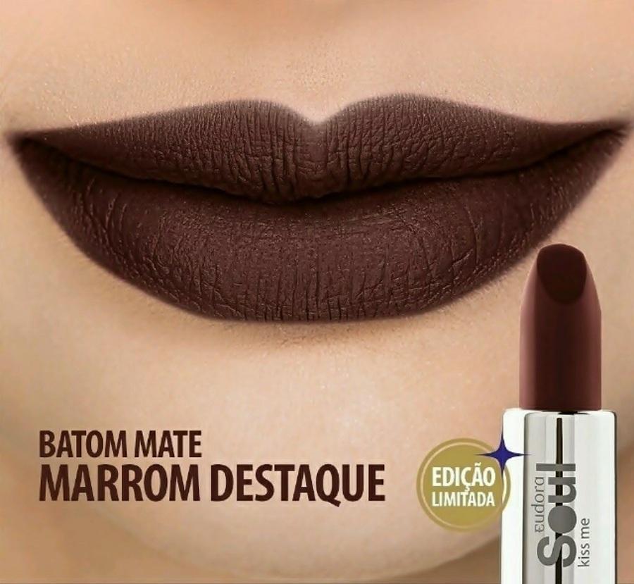Eudora Marrom Destaque Batom Fosco/Mate Soul Kiss Me