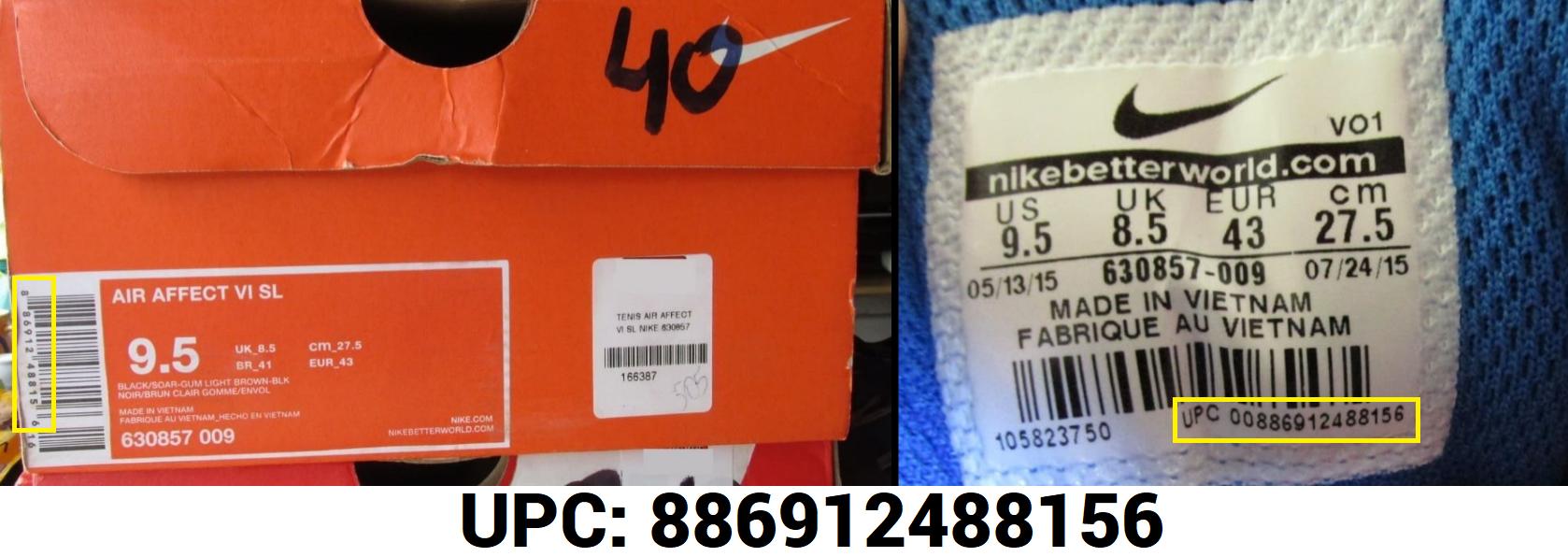 8e5552c61 A etiquetada dos tênis originais Nike, por exemplo, está na horizontal,  enquanto as falsificações normalmente apresentam a etiqueta na vertical.