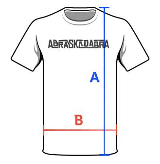 Ilustração de uma camiseta com a indicação das medidas: A (altura) e B (largura)