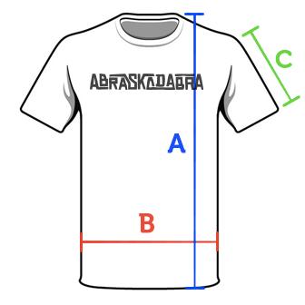 Ilustração de uma camiseta com a indicação das medidas: A (altura), B (largura) e C (manga)