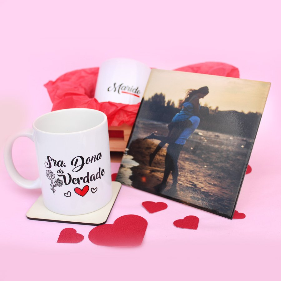 Kit Dia dos Namorados Personalizado com azulejo