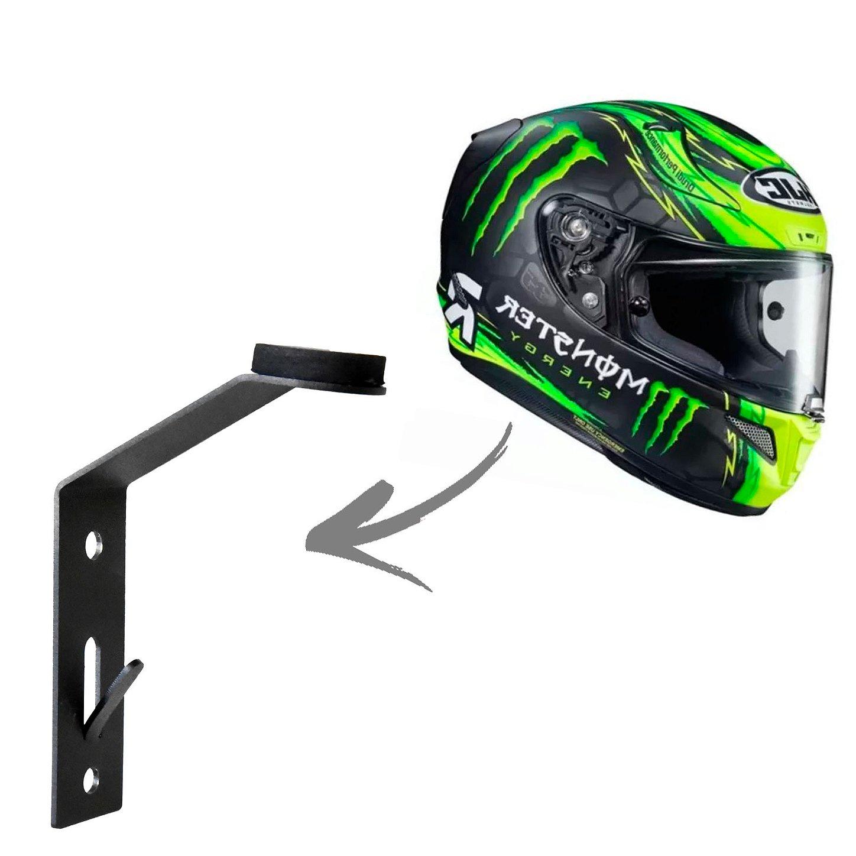 Suporte de Capacete de Moto para Pendurar na Parede com Porta chaves Super Resistente e Reforçado Feito em Aço Carbono com Inclinação ergonômica acessórios para motocicleta