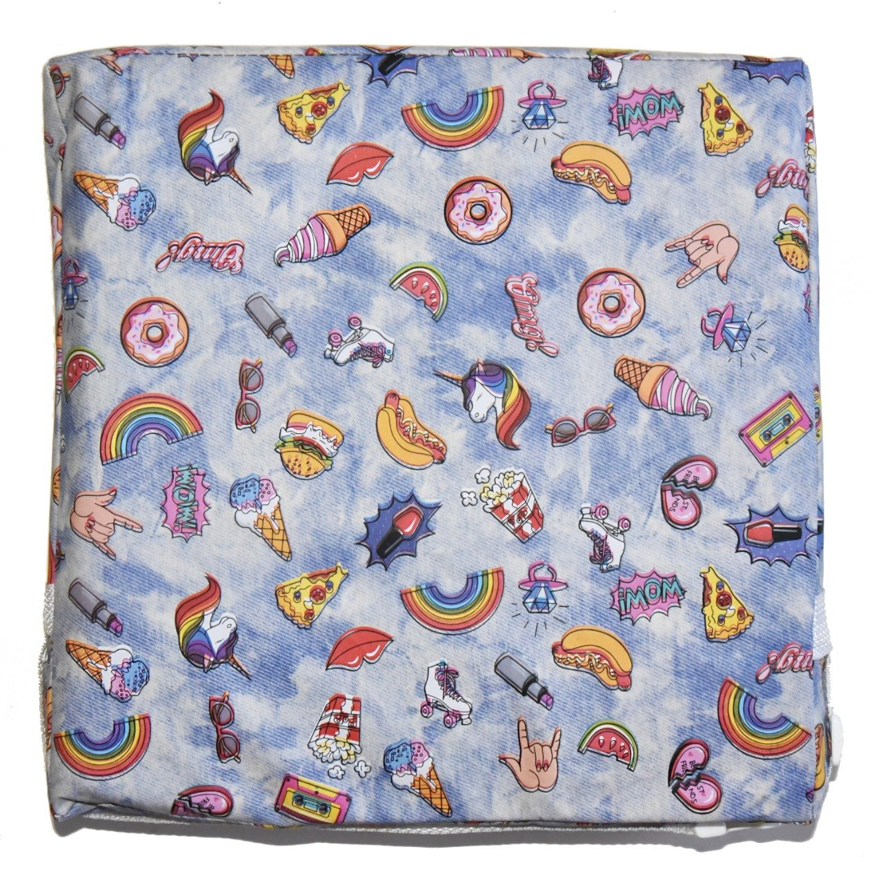 Assento Almofada de Elevação Infantil para Cadeira de Alimentação Cadeirinha de Crianças Bebês UNIVERSAL - Estampa Unicórnio Azul Unicornio Colorido Cute Fofo Lindos Menino Menina