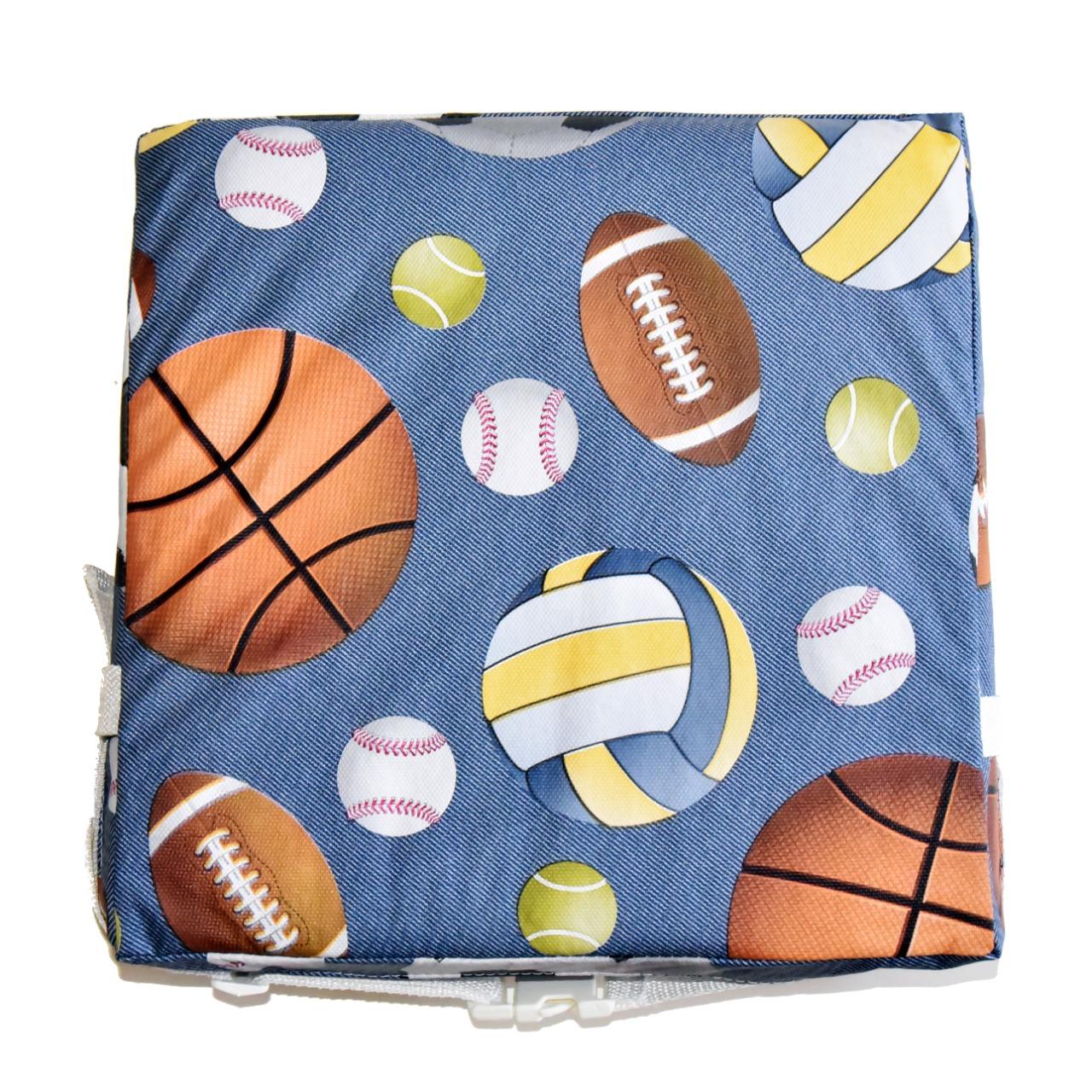 Assento Almofada de Elevação Infantil para Cadeira de Alimentação Cadeirinha de Crianças Bebês UNIVERSAL - Estampa Bolas de Esportes Futebol Basquete Tenis Beisebol Basquetebol Queimada Futsal Golfe Handebol Menina Menino
