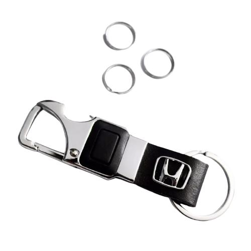 Chaveiro Automotivo Couro Led Acessórios Honda Civic Fit CRV Hr-v Wr-v City Accord Hrv Wrv Crv New Civic Abridor de Garrafa Lanterna Led