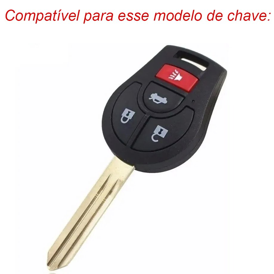 Chaveiro Automotivo Case Capa de Chave Couro Acessórios Nissan March Versa Sentra Tiida Preto com costuras vermelhas