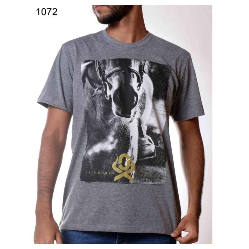 Camiseta Ox Horns Masculina Cinza Mescla 1072
