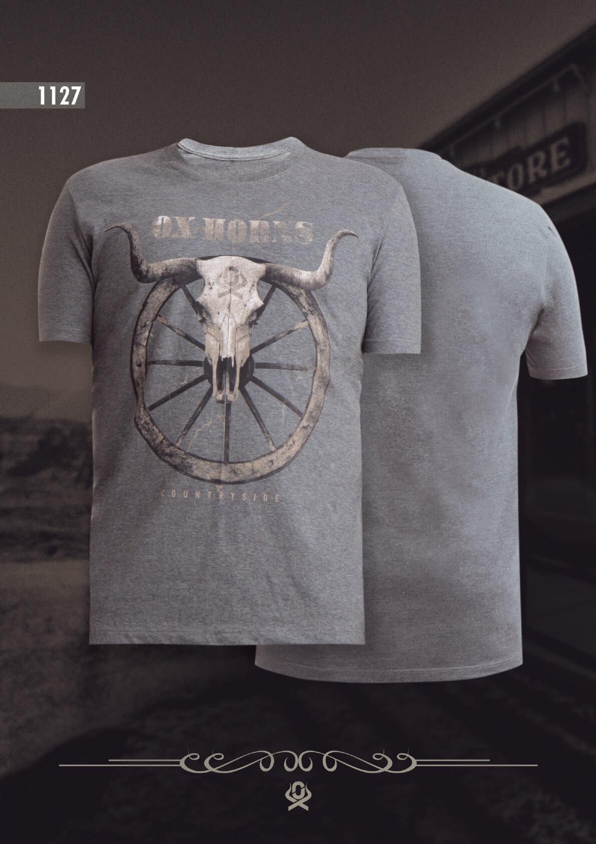 be2acacf13e69 Camiseta Ox Horns Masculina Cinza Mescla 1127 - Vitrine do Cowboy ...